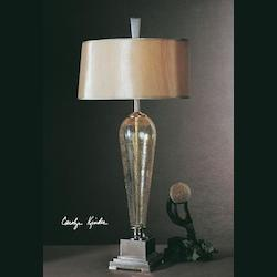 Iridescent Crackled Glass With Brushed Nickel Metal Accents Celine Table Lamp