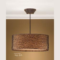 Dark Brown, Champagne Taupe 3 Light Hanging Shade Pendant from the Brandon Collection