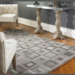 Gray 5 x 8 Matrice Low Cut Wool Rug