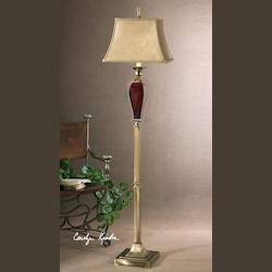 Burgundy Ceramic With Bronze Metal Details Rory Floor Lamp