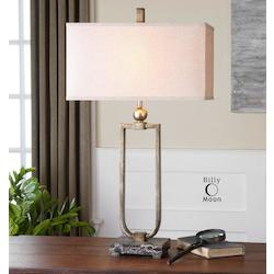 Antiqued Burnished Silvered With Marble Osmund 1 Light Table Lamp