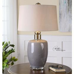 Crackle Gray With Brushed Nickel Ovidius 1 Light Table Lamp