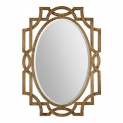 Antiqued Gold Leaf Margutta Oval Mirror
