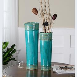 Green Ceramic Thane Crackled Ceramic Vases - Set of 2