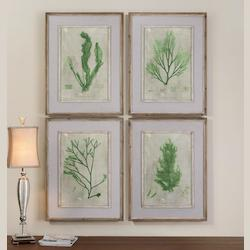 Artwork Reproduction Emerald Seaweed Framed Wall Art, Set of Four