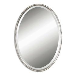 B Brushed Nickel Sherise Oval Beveled Mirror With Beaded Frame