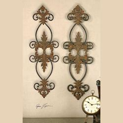 Distressed Rust Brown And Aged Black Lacole Set of 2 Leaf And Scroll Metal Wall Art