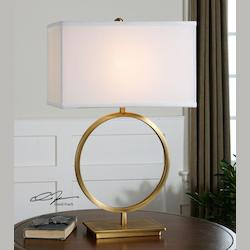Plated Brushed Brass Duara 1 Light Table Lamp