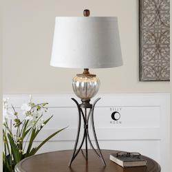 Glass And Bronze Cebrario Table Lamp with Round Shade
