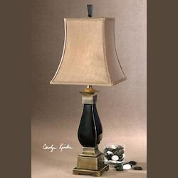 Black Ceramic, Bronze Metal Detail Benedict Table Lamp