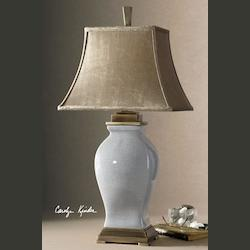 Rory Blue With Bronzed Metal Detail Rory Blue Table Lamp