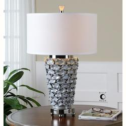 Light Pearl Gray With Polished Nickel Petalo 1 Light Table Lamp