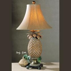 Brown Glaze, Bronze Accents Anana Pineapple Table Lamp