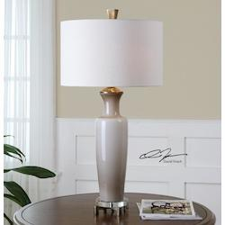 Gray Glass And Bronze Consuela Table Lamp with Cylinder Shade