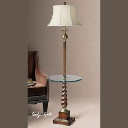 Burnished Light Cherry And Aged Bronze Myron Twist End Table Lamp