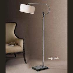 Glass And Polished Chrome Adara Swing Arm Floor Lamp with White Drum Shade