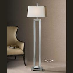 Polished Chrome Coffield Floor Lamp with Square Shade