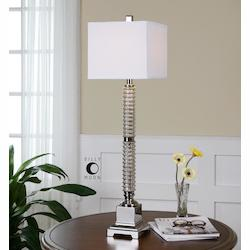 Glass And Polished Nickel Ardex Buffet Lamp with Square Shade