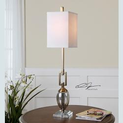 Glass And Bronze Copeland Buffet Lamp with Square Shade