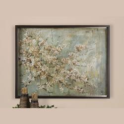 Medium Taupe / Antique Silver Leaf / Dark Brown and Black Glaze Hand Applied Oil Reproduction Tree Blossom Depiction Art Piece from the Blossom Melody Collection