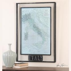 Artwork Reproduction Italy Map Framed Wall Art