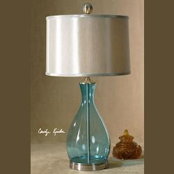Clear Blue, Mouth Blown Glass With Satin Nickel Metal Detail Meena 1 Light Table Lamp
