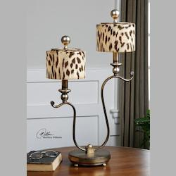Antiqued Silver Malawi 2 Light Table Lamp