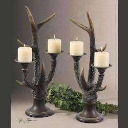 Burnished Ivory Stag Horn Candleholder Set of 2
