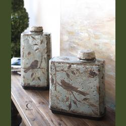 Crackled Blue Freya Containers Set of 2
