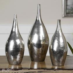 Vintage Silver Rajata Silver Vases, Set of Three