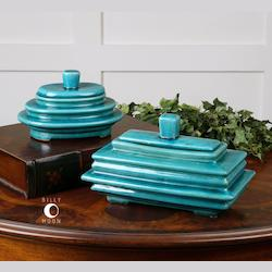 Blue Ceramic Indra Ceramic Canisters - Set of 2