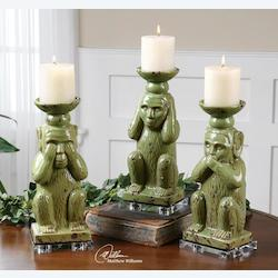 Antiqued Pale Green with Clear Crystal Toma Ceramic Monkey Candleholders, Set of Three