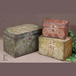 Weathered Reds, Mossy Greens And Sandy Browns With Gold And Burnished Black Details Hobnail Boxes Set of 3
