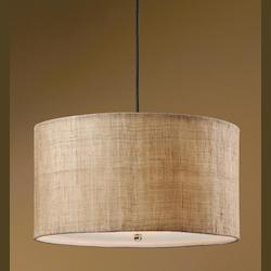 Antiqued Burlap Weave 3 Light Hanging Drum Pendant from the Dafina Collection