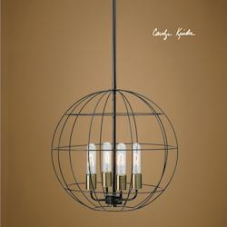 Distressed Bronze Palla 4 Light Cage Pendant