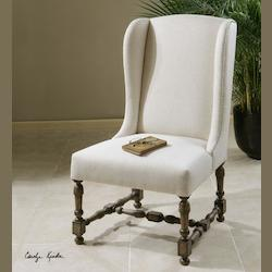 Creamy Alabaster Linen With Weathered Pine Diella Weathered Wood Leg Wing Chair