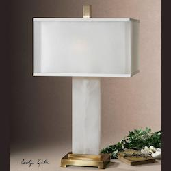 White Alabaster With Coffee Bronze Athanas 2 Light Table Lamp
