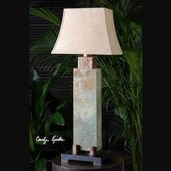 Hand Carved Slate Body, Hammered Copper Details Slate Tall Indoor/Outdoor Table Lamp