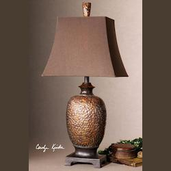 Distressed Bronze Leaf, Dark Chestnut Bronze Details, Gray Verdigris Glaze Amarion Table Lamp