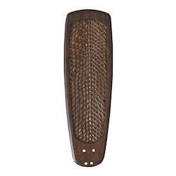 Walnut Solid Wood, Hand Carved Blade with Rattan Inlay