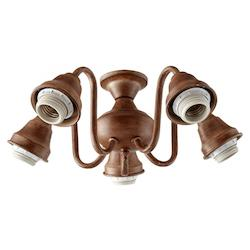 Five Light French Umber Fan Light Kit