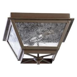Two Light Oiled Bronze Clear Seeded Glass Outdoor Flush Mount