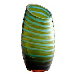 Cyan Blue and Orange 10.25in. Large Angle Cut Chiseled Vase