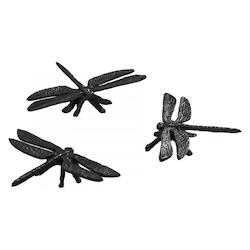 Cast Iron Set Of 3 Dragonflies Rustic Bronze