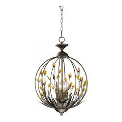 Autumn Dusk with Amber 21in. Amber Chandelier from the Decorative Vases Collection