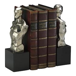 Chrome with Black Granite Base 9in. Hercules Bookends