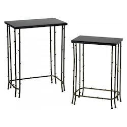 Distressed Bamboo 24.25in. Bamboo Nesting Tables