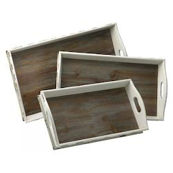 Distressed White and Gray 4.25in. Alder Nesting Trays