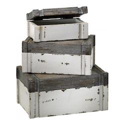Distressed White and Gray 5in. Alder Boxes