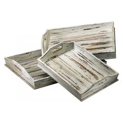 Distressed White 3in. Rectangular Trays